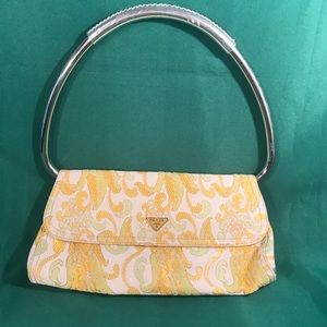Prada Silver Handle and Embroidery Purse